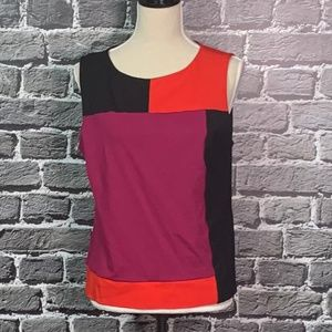 Ruby Rd. Ponte Knit Colorblock Top Sz 12 Career!!